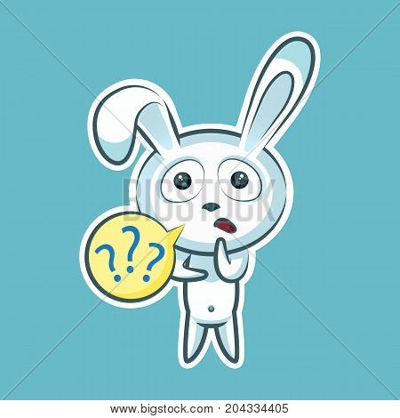 Sticker emoji emoticon, emotion what, misunderstanding, question marks, vector isolated character sweet, cute white rabbit, bunny, hare, coney, cony, lapin for happy Easter mobile app