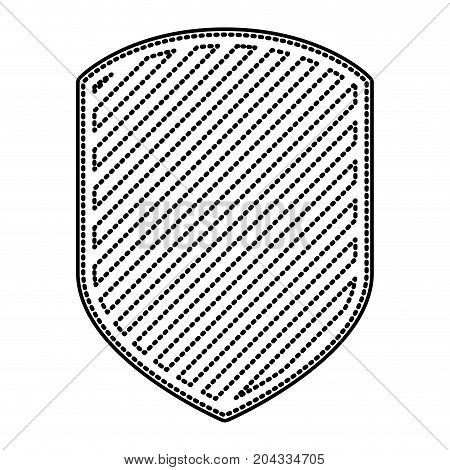 emblem in monochrome dotted contour and striped vector illustration