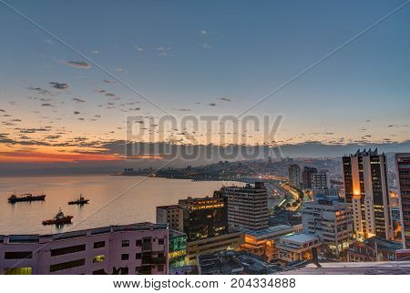 The bay of Valparaiso in Chile before sunrise