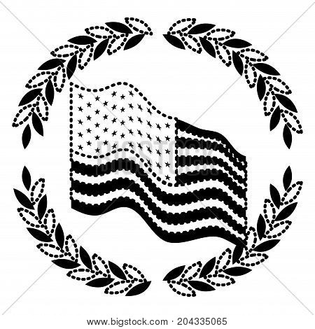 united states flag waving with olive branches forming circle on monochrome dotted silhouette vector illustration