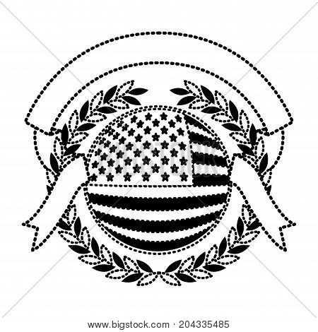 united states flag inside of circle with olive crown and ribbon on top in monochrome dotted silhouette vector illustration
