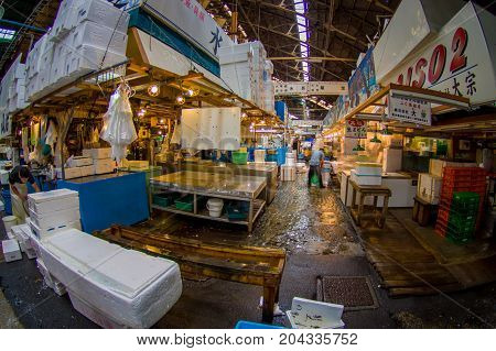 TOKYO, JAPAN JUNE 28 - 2017: Seafood for sale at the Fish Market Tsukiji wholesale in Tokyo Japan, Tsukiji Market is the biggest wholesale fish and seafood market in the world, fish eye effect.