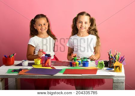 Children Paint With Gouache And Markers On Pink Background