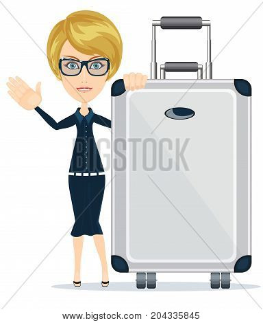 Woman traveler with suitcase on white background. Stock flat vector illustration.