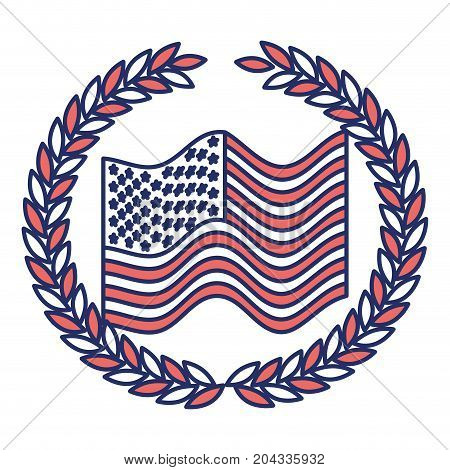 united states flag waving with olive crown in color sections silhouette vector illustration