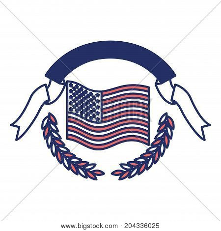 united states flag waving with olive branches and ribbon on top in color sections silhouette vector illustration