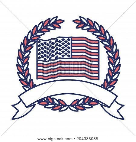united states flag waving inside of crown of olive branches with ribbon on bottom in color sections silhouette vector illustration