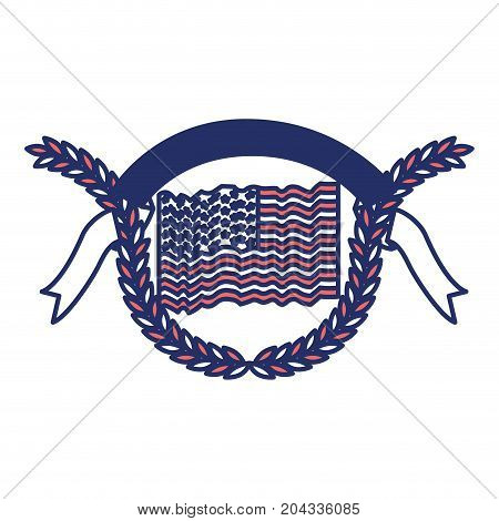united states flag over olive branches with ribbon on top color sections silhouette vector illustration