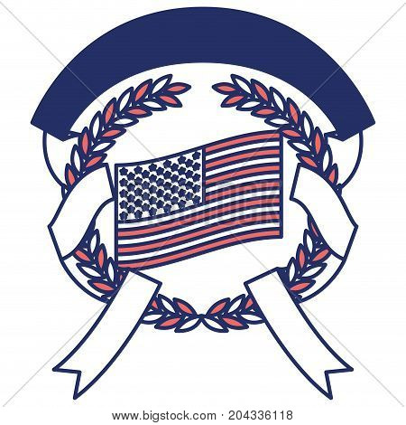 united states flag inside of circle of olive branches and ribbon interlace in color sections silhouette vector illustration