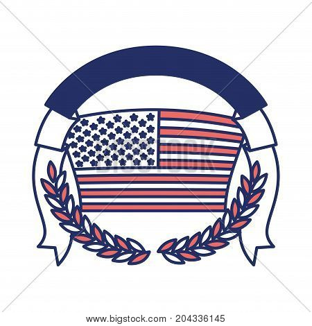 united states flag with half crown of olive branches with thick ribbon on top in color sections silhouette vector illustration