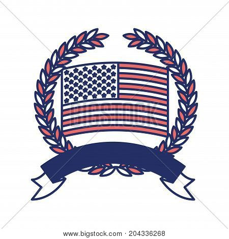 united states flag inside of circle of olive branches with ribbon on bottom in color sections silhouette vector illustration