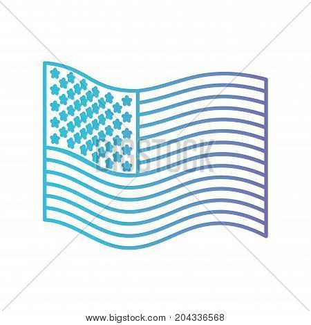 flag united states of america wave side in color gradient silhouette from purple to blue vector illustration