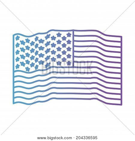 flag united states of america waving in color gradient silhouette from purple to blue vector illustration