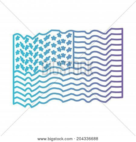flag united states of america several waves in color gradient silhouette from purple to blue vector illustration