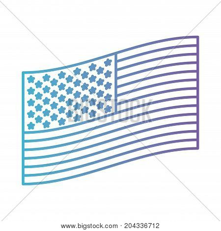 flag united states of america flat side design in color gradient silhouette from purple to blue vector illustration