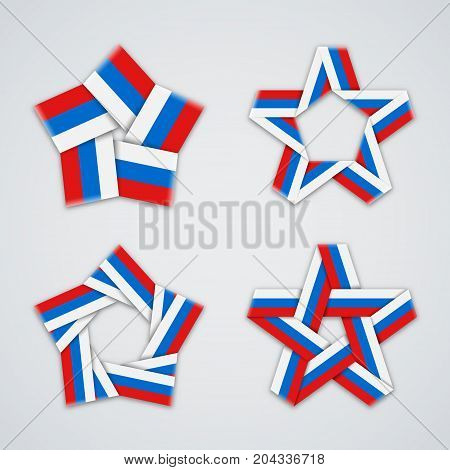 Set of stars made of ribbon with russian flag colors. Tricolor symbol design. Vector illustration for russian national holidays.