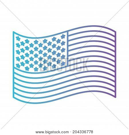 flag united states of america waving design in color gradient silhouette from purple to blue vector illustration