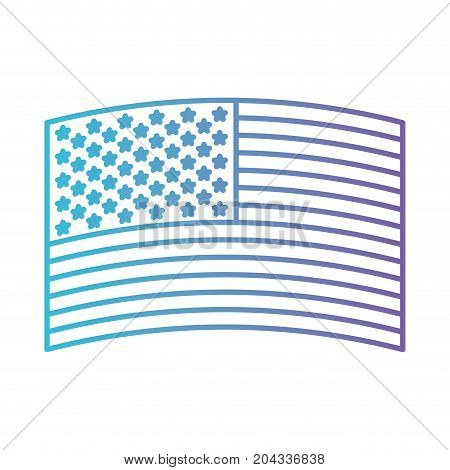 flag united states of america wave out design in color gradient silhouette from purple to blue vector illustration