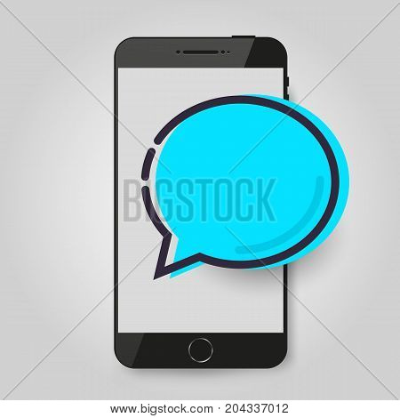 Mobile phone chat message. Chat bubble, concept of online talking, speak, conversation, dialog. Vector illustration