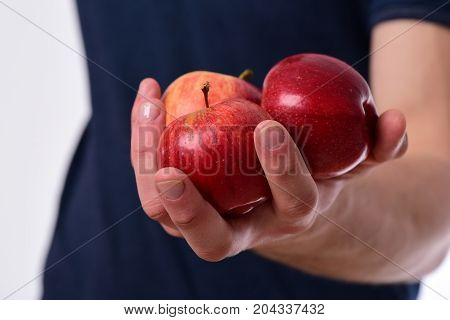 Apples In Fresh And Juicy Color. Vitamins And Fitness Concept.