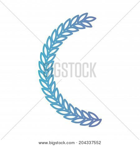 olive branch half bow in color gradient silhouette from purple to blue vector illustration