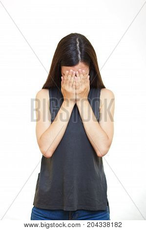 I cant see you young women is covering her eyes with her hands