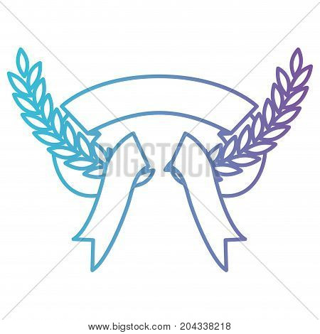 olive branches and thick ribbon interlace in color gradient silhouette from purple to blue vector illustration