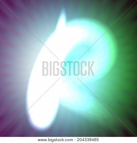 single light blue neon letter r. vector illustration