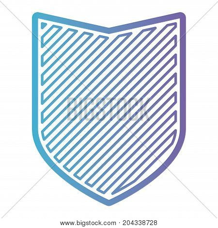 badge with striped in color gradient silhouette from purple to blue vector illustration