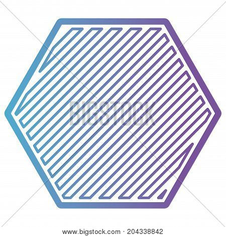 hexagon shape emblem in color gradient silhouette from purple to blue vector illustration