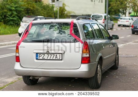 Parked Opel Astra Stationcar