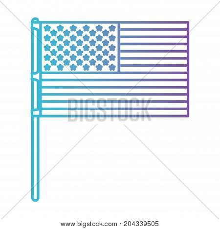 flag united states of america in pole flat design color gradient silhouette from purple to blue vector illustration