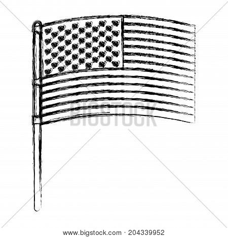 flag united states of america in pole flat design in blurred silhouette vector illustration