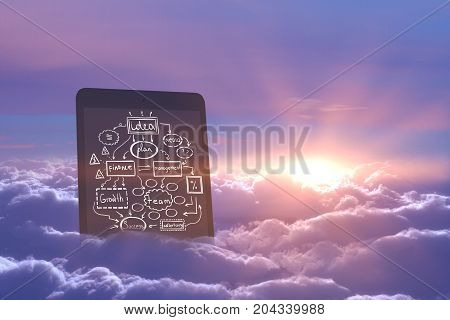 Abstract image of tablet with business sketch in sky with clouds and sunset. Imagination concept
