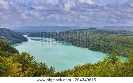 Image of the Vouglans Lake on the River Ain in Jura France.