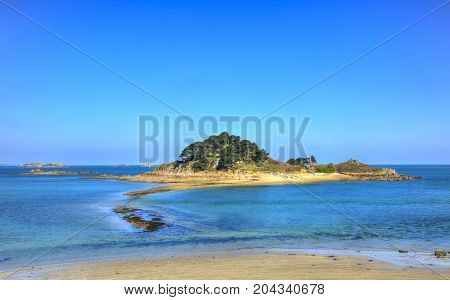 Beautiful view of the Sterec Island located in Morlaix Bay in Finistere, Brittany in North of France.