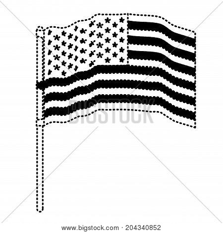 flag united states of america in pole several waves in dotted monochrome silhouette vector illustration