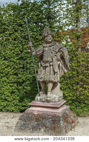 Sculpture in Veitshochheim rococo garden Bavaria Germany