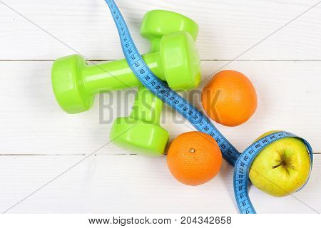 Ideal Size Concept, Dumbbells Weight With Measuring Tape, Fruit