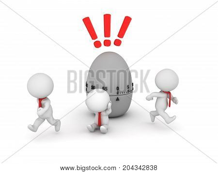 3D Illustration of office workers stressed because of deadline. Isolated on white.