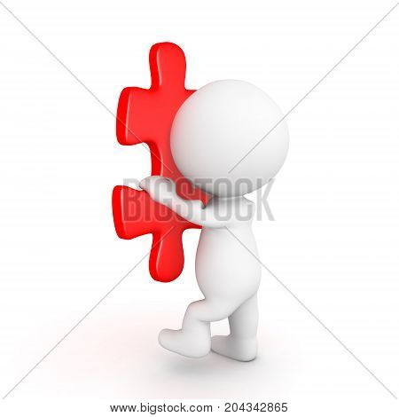 3D Character climbing on of red puzzle piece. Isolated on white.