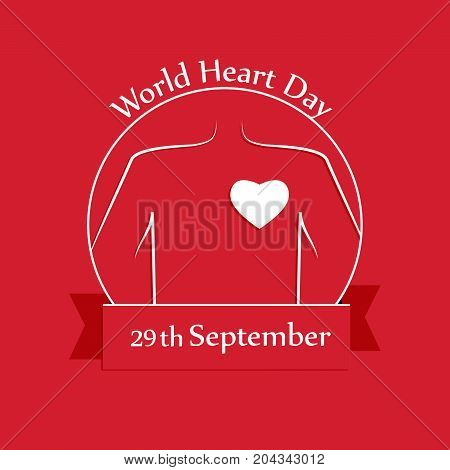 illustration of heart with World Heart Day 29th September text on the occasion of World Heart Day
