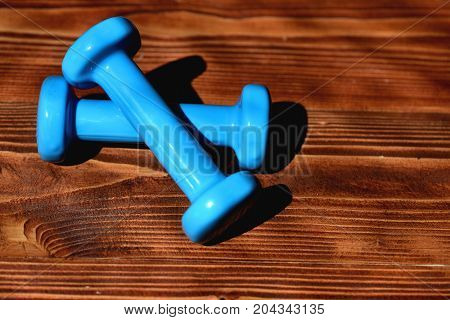 Barbells Placed Crosswise, Top View. Sports And Healthy Lifestyle