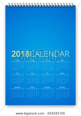 Simple calendar 2018 blue colored template. Week starts from sunday. Vector realistic spiral notepad notebook