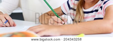 Blond Smiling Little Girl Hold In Arm Pencil Drawing