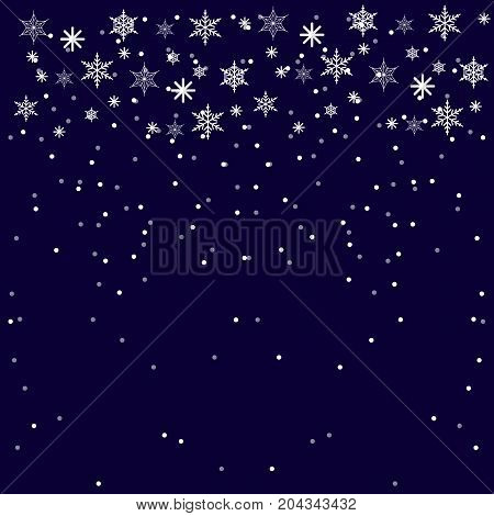Christmass and New Year Blue Background with snowflakes. Flat Vector Illustration