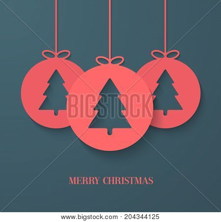 Christmas paper card with hanging tree decoration. Vector illustration.