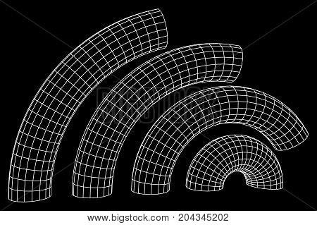 Wireframe Mesh Bend Column. Connection Structure. Digital Data Visualization Concept. Vector Illustration.