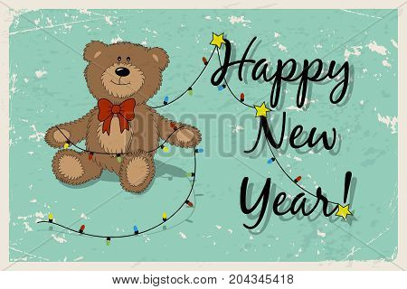 Happy New Year vintage postcard with funny Teddy bear and garland. Cartoon Teddy bear with the christmas tree garland and the Happy New Year phrase. Vector illustration.