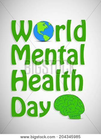 illustration of earth and brain with World Mental Health Day text on the occasion of World Mental Health Day